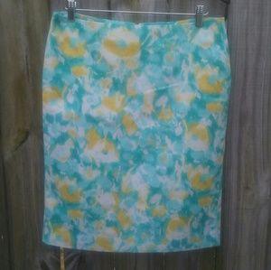 Talbots pencil skirt-size 10- print- blue/yellow